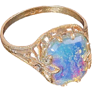 Early signed Uncas goofus glass ring delicate design Size 6