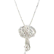 Gorgeous Diamante rhinestone set necklace & ear clips silver tone crystal rhinestones