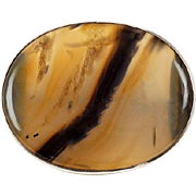 Antique banded Agate Brooch in Sterling Silver 1870's