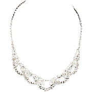 Signed Kramer of New York necklace crystal rhinestones Silver tone plating