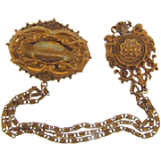 Victorian revival 3 chain gold tone chatelaine