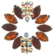 1960's Rhinestone Brooch in shades of brown stones