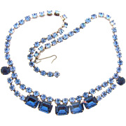 Vintage 1960's bright blue Rhinestone Choker Necklace