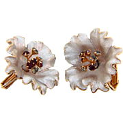 Vintage large floral clip on Earrings with rhinestone tipped center stamens