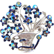 Signed Star rhinestone flower basket Brooch with blue AB stones