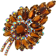Large D & E Juliana leaf shaped rhinestone Brooch