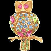 Vintage figural owl Brooch with pastel rhinestones