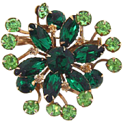 Vintage 1950's rhinestone Brooch in shades of green