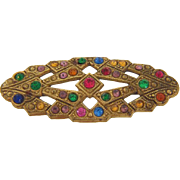 Small early 1900's gold wash Brooch with multicolored paste stones