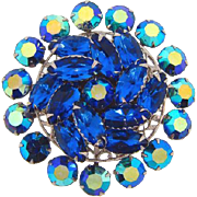 Large circular 1960's rhinestone Brooch in shades of blue