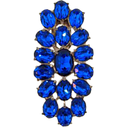 Large Art Deco Dress Clip with sapphire blue faceted glass stones