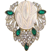 Art Deco 1940's Dress Clip with crystal and emerald rhinestones and MOP insert