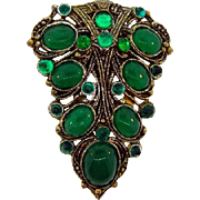 SOLD New England Glass Works Art Deco dress clip with emerald green stones