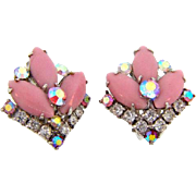 Signed Weiss clip on Earrings in pink and crystal rhinestones