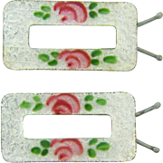 Vintage small Guilloche Barrettes with a rose pattern