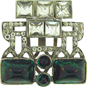 Very heavy chunky Art Deco dress clip with crystal rhinestones and emerald green cabochons