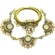Signed Selro clamper Bracelet and choker Necklace with multicolored rhinestones and imitation