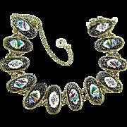 Vintage sterling silver link Bracelet with enamel floral designs
