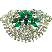 Art Deco 1940's white metal Brooch with crystal and green stones