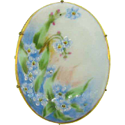 Hand painted porcelain Brooch in gold tone frame
