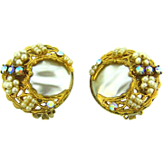Vintage clip on imitation baroque pearl Earrings filigree imitation seed pearls and rhinestone