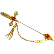 Vintage sword Stick Pin with chain, tassel and rhinestones