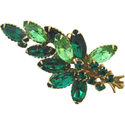 1960's green rhinestone Brooch