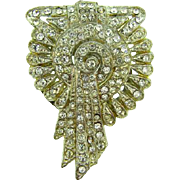 1940's Art Deco dress clip with pave set crystal rhinestones
