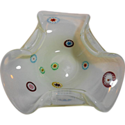 SOLD Murano Ermanno Toso Opalino Bowl with Murrine Millefiori - Red Tag Sale Item