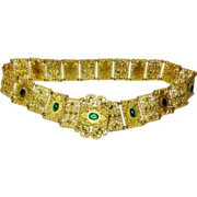 SOLD Antique 1895-1900 Filigree Gilt Belt with Faux Emerald Stones - Red Tag Sale Item