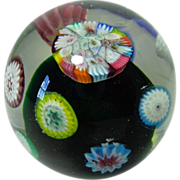 SOLD Fratelli Toso Murano Floating Millefiori Paperweight