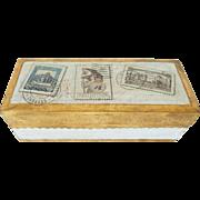 1940-60's Italian Florentine Gilt Wood Stamp Box w Label