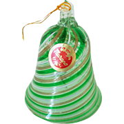 Vintage Murano Glass Aventurine & Green Mezza Filigrana Bell
