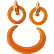 Early KENNETH LANE Bakelite Hoop Earrings & Open Bangle Bracelet