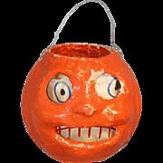Vintage Paper Pulp Mache Halloween Pumpkin Jack O'Lantern