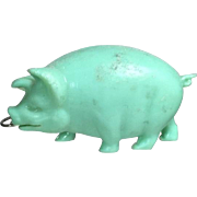 SOLD Vintage 1940s Green Celluloid Pig Sewing Tape Measure! Occupied Japan