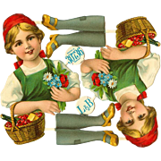 SOLD Rare! German Color Litho Victorian Scrap Little Red Riding Hood Uncut Paper Dolls!