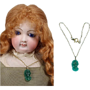 SOLD Lovely Antique Green Glass Cameo Doll Necklace for French Fashion!
