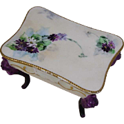 Beautiful Antique AK Limoges France Footed Trinket Dresser Box Casket!