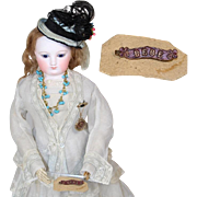 Antique French Doll Metal BEBE Doll Pin on Orig Card From France!