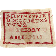 """Antique 1919 French Child's ABC Red White School Sampler """"Abecedaire""""!"""
