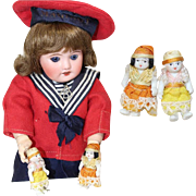 Darling Tiny All Bisque Asian Dolls for Larger Doll to Play With!