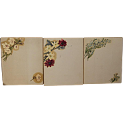 Unique Antique Victorian Hand Painted Cabinet Card Photo Mats - Oil Painted Flowers - Possible