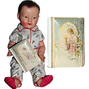Antique 1923 French Celluloid Catholic Child's Missal - Great Doll Size!