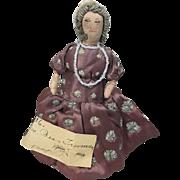 1945 Cloth Doll President Wife First Lady Bess Truman Kimport Era
