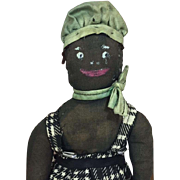 Early Vintage Black Americana Cloth Doll - Handpainted Facial Features