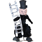 Small German Chenille Chimney Sweep Doll Spun Cotton Christmas Decoration