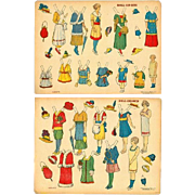 SOLD 1900s Decalco Litho Paper Doll Women's Suffrage Set