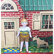 German All Bisque Dollhouse Flapper Doll 1920s Cute Little Boy!