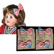 Old Store Stock TWO PAIRS Red White Blue Patriotic 4th July Flag Bows for Bisque ...